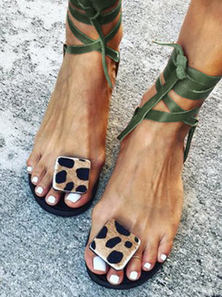 Women Leopard Ring Toe Lace Up Flat Casual Rome Sandals
