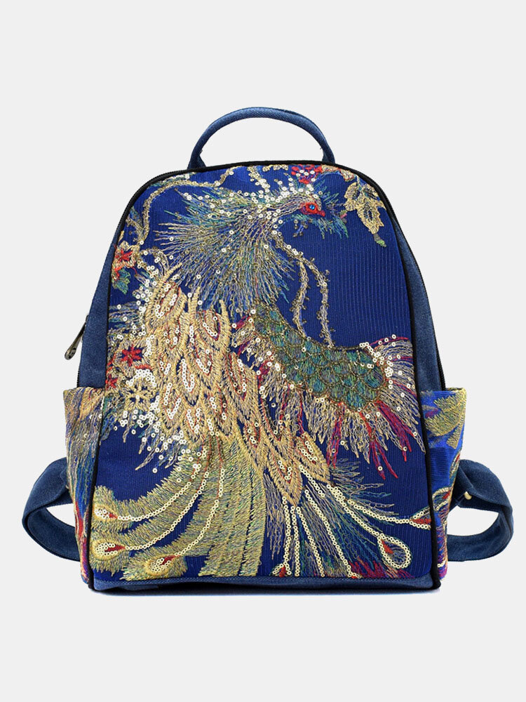 Women Ethnic Sequined Embroidered Peacock Anti-theft Backpack