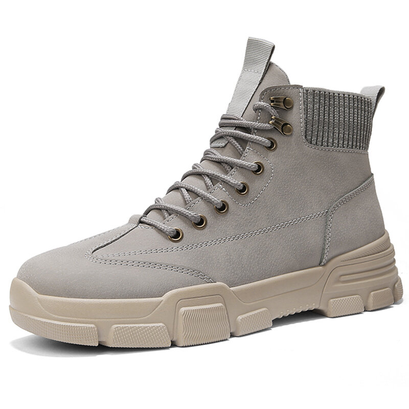 Men Microfiber Leather Work Style Tooling Boots