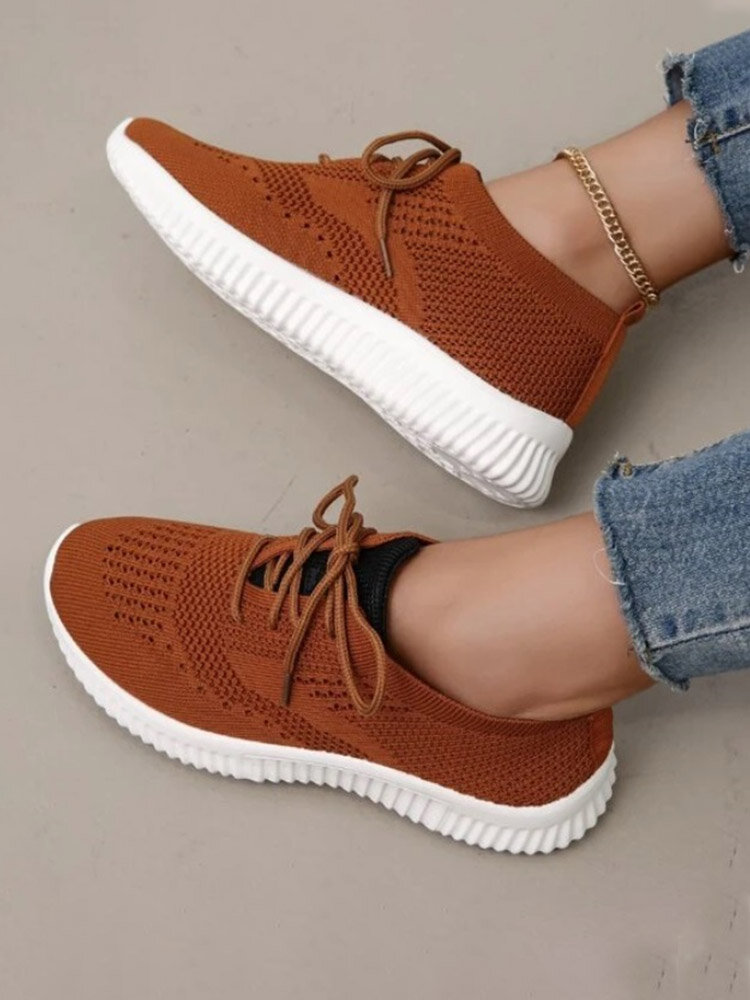 Large Size Women Solid Color Hollow-out Mesh Runing Shoes