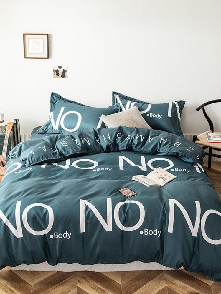 3/4 Pcs Letters Print Solid Color Aloe Cotton Comfy Bedding Set Sheet Duvet Cover Pillowcase