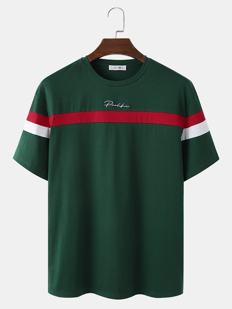 Mens Stripe Spliced Embroidered Loose Varsity Short Sleeve T-Shirts