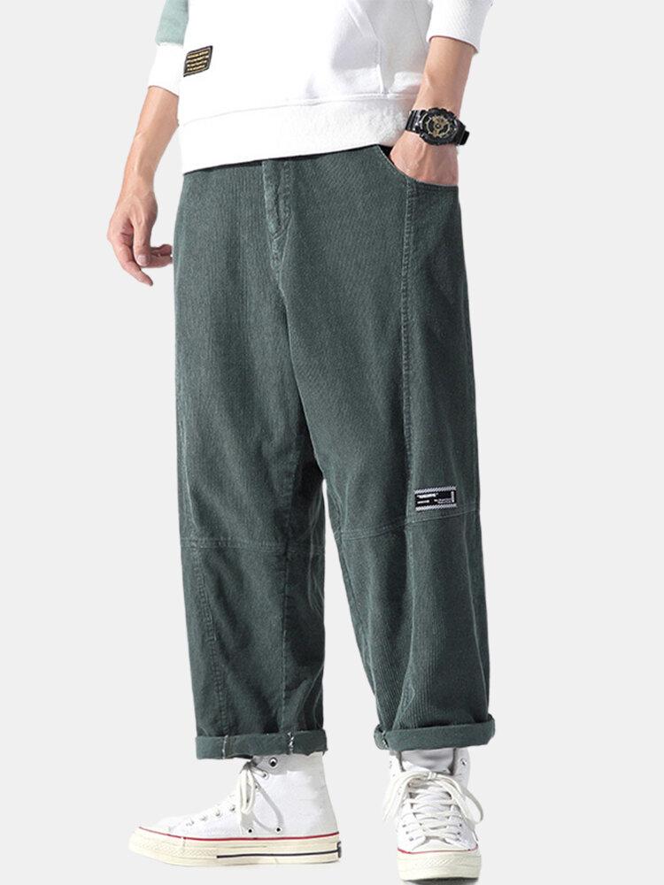 Mens Corduroy Applique Cotton Casual Zipper Fly Pants With Pocket