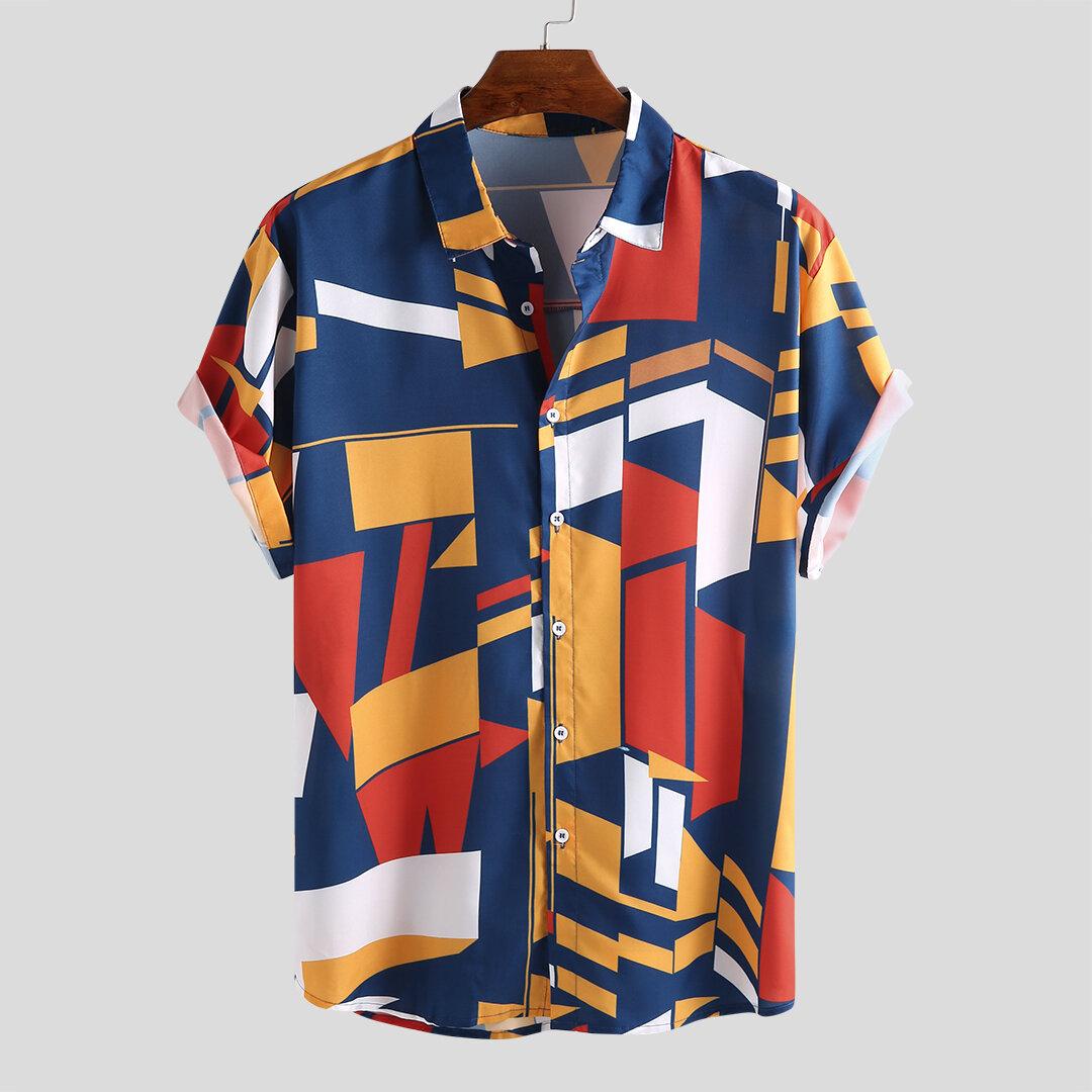 264715b72a7f Mens Funny Hit Color Printed Turn Down Collar Short Sleeve Loose Shirts