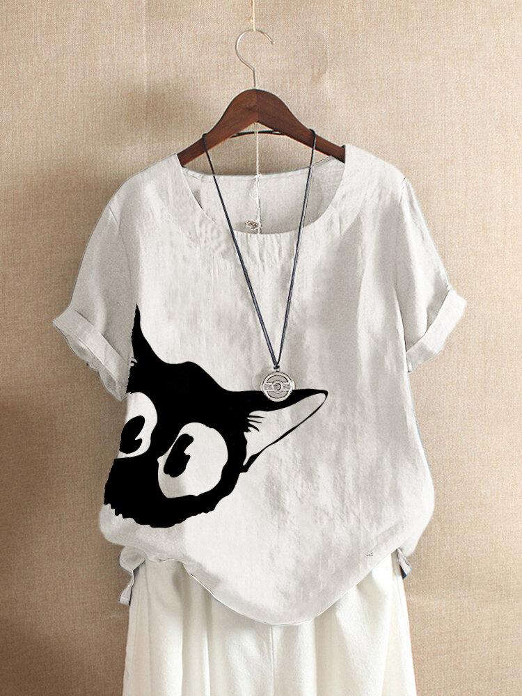 Cartoon Cat Printed Short Sleeve T-shirt For Women