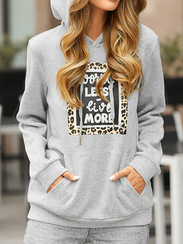 Women Leopard Letters Print Pocket Long Sleeve Casual Hoodie