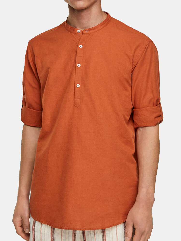 Mens 100% Cotton Ethnic Holiday Loose Stand Collar Henley Shirt