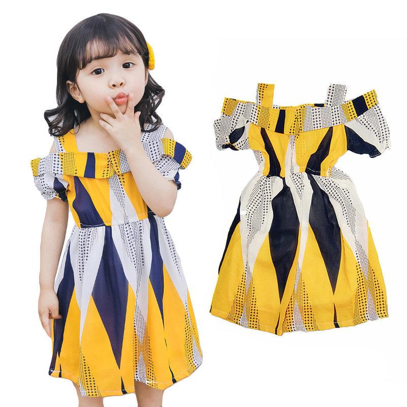 Off Shoulder Style Toddler Girls Printed Summer Dress For 2Y-9Y