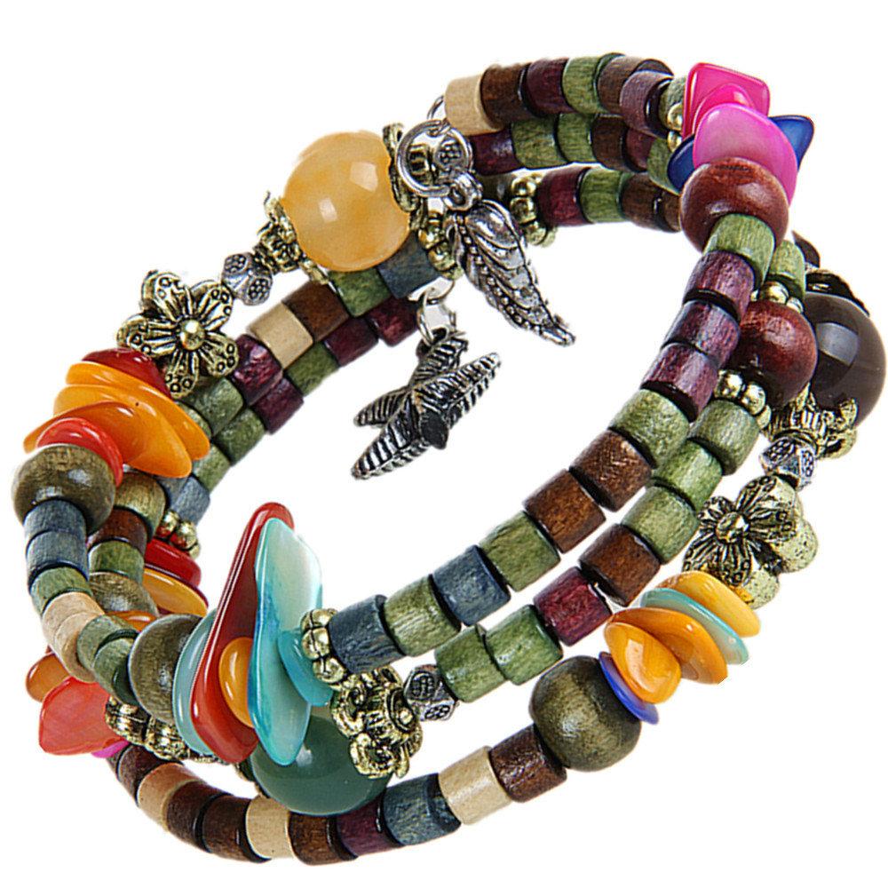 Bohemian Tibetan Buddhist Multilayer Long Wood Beaded Bracelet Unisex Gift