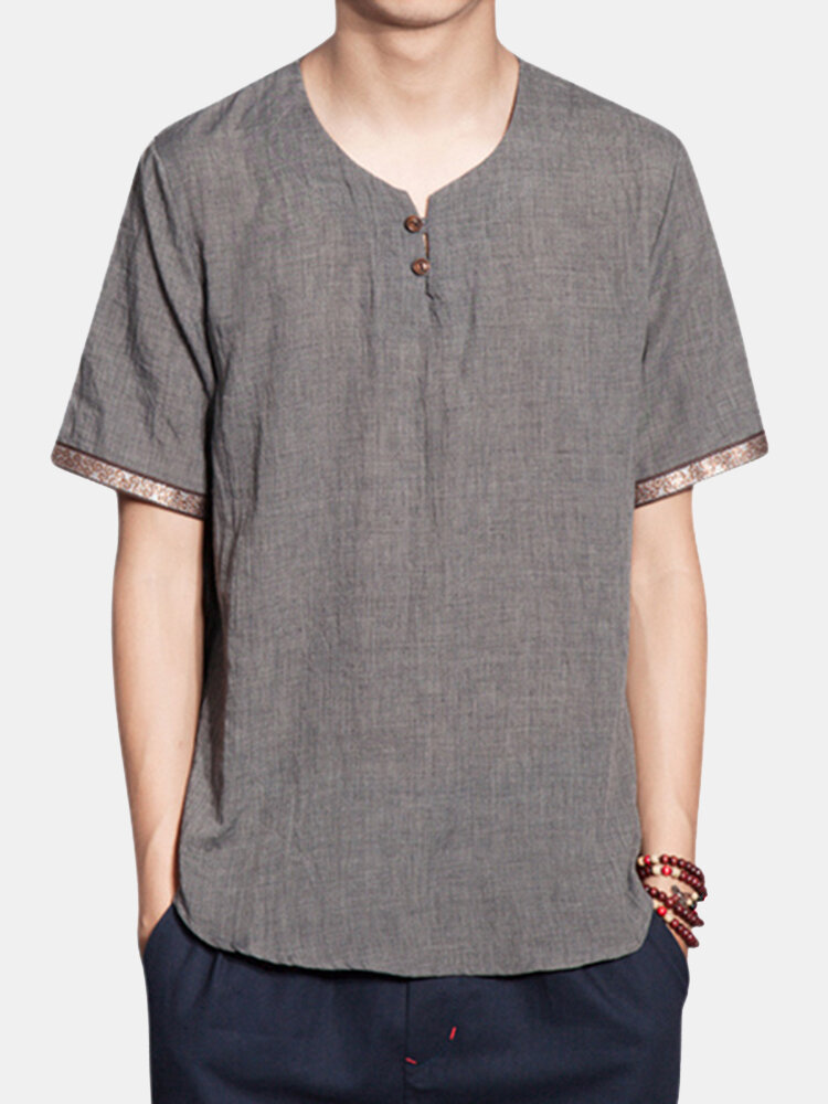 668368d6597 Mens Cotton Linen Retro T-shirt Round Neck Chinese Style Short Sleeve Loose  Fit Top Tee