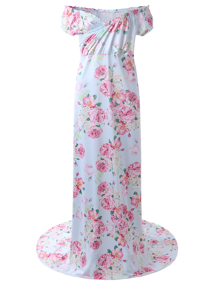 Floral Maxi Maternity Dress Maternity Photography Props Dress