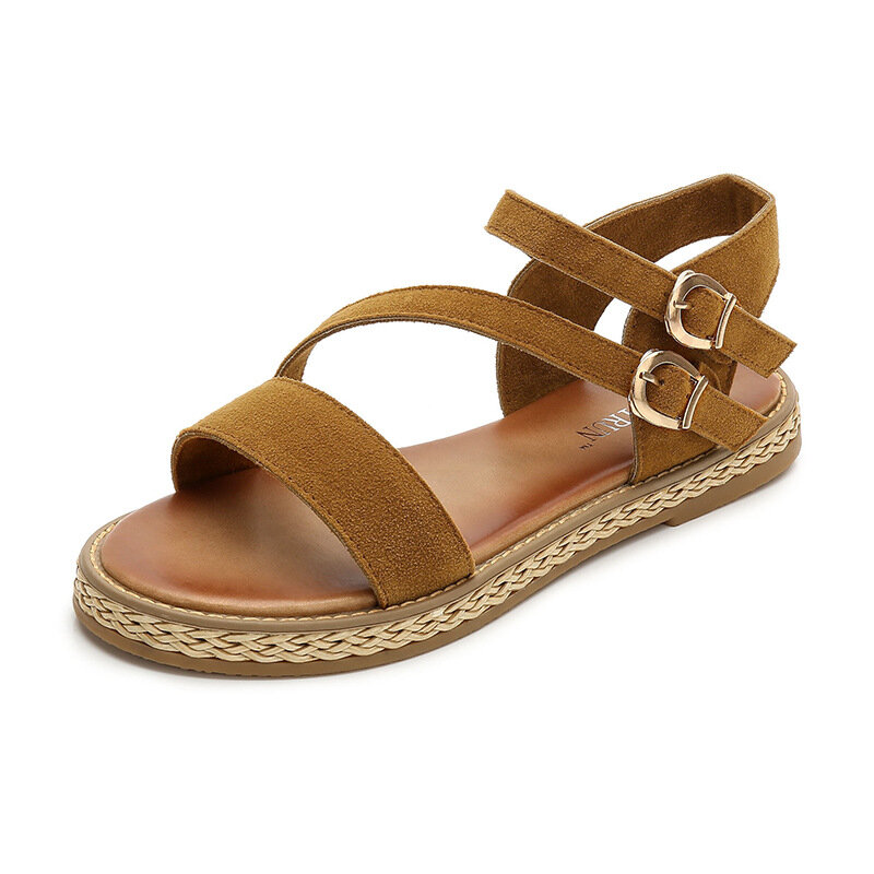 Rome Suede Metal Buckle Causal Flat Sandals