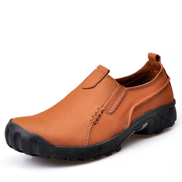 Men's Hiking Leather Slip Resistant Outdoor Sport Flat Casual Shoes
