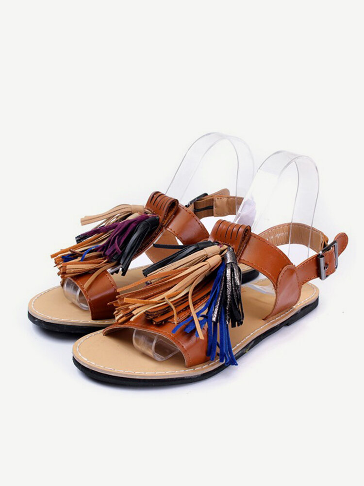 Fashion Retro Tassel Flat Buckle Sandal