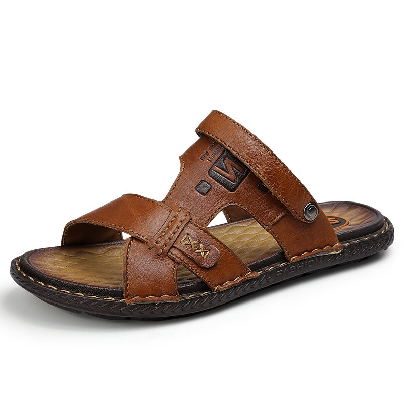 Men Comfy Soft Sole Water Slip On Beach Leather Sandals
