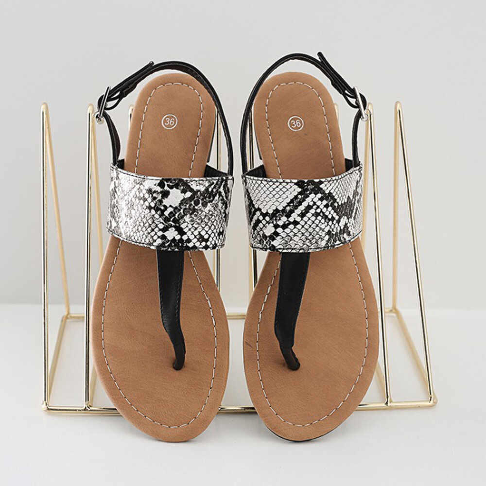 Large Sizes Womens Clip Toe Buckle Snakeskin Print Flats Sandals