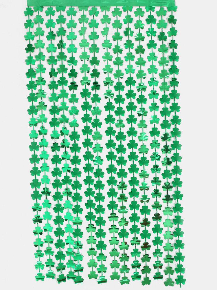 1 قطعة 1 * 2 متر سعيد عيد القديس باتريك أخضر البرسيم بهرج ستارة المطر المعدني احباط هامش ستارة حفلات الزفاف خلفية الستار كابينة تصوير خلفية الأيرلندية مهرجان حزب الديكور