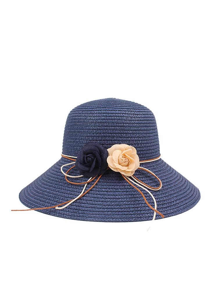 Cappello da pescatore per ombrellone da spiaggia pieghevole in tinta unita estiva da donna