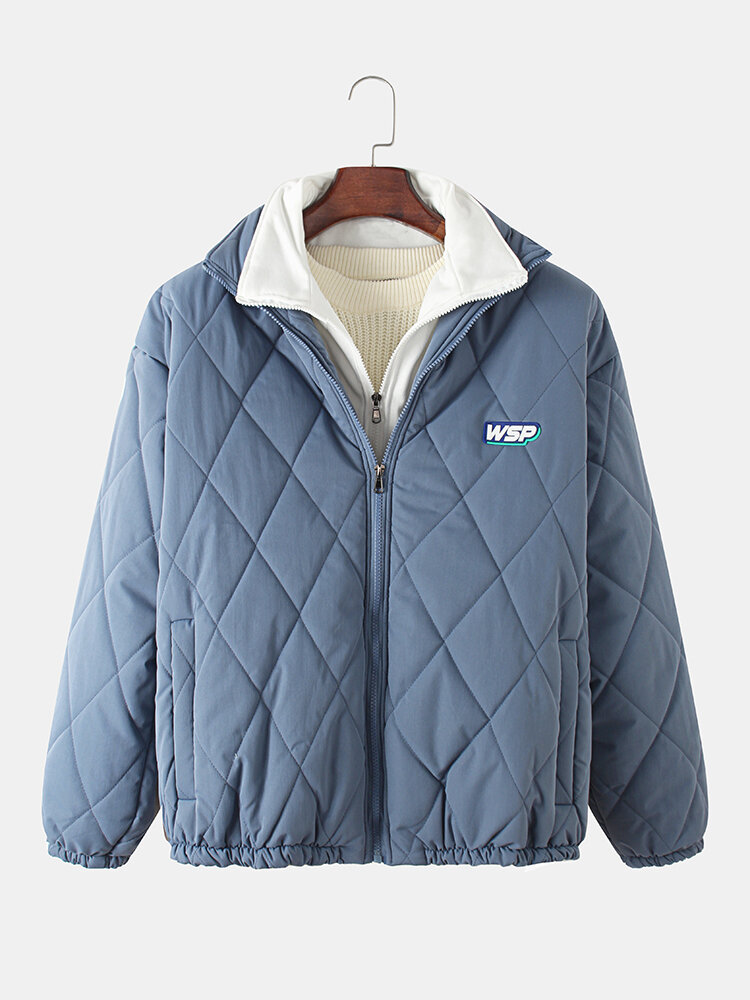 Mens Faux Twinset Zipper Side Pockets Thick Plus Size Quilted Jacket With Tab