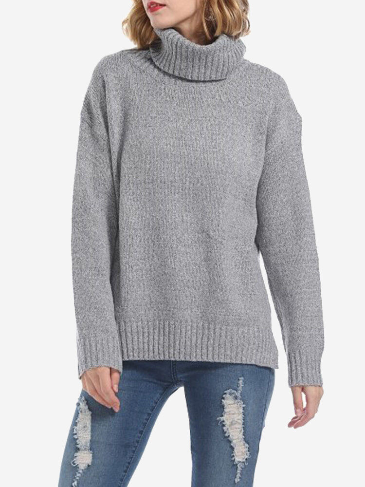 Solid Color Turtleneck Casual Sweaters
