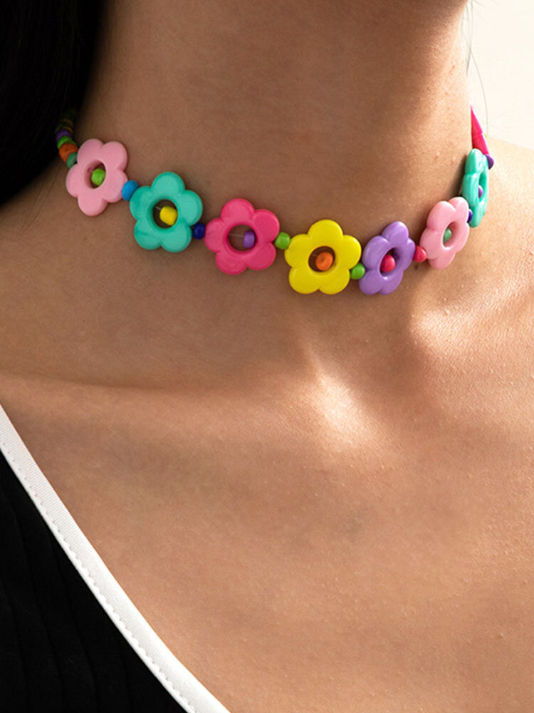 Trendy Colorful Flowers Beads Necklace Temperament Geometric Hollow Clavicle Chain