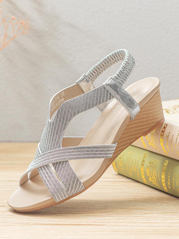 Женская богемная летняя праздничная обувь, повседневная эластичная Стандарты Удобная обувь на танкетке Сандалии