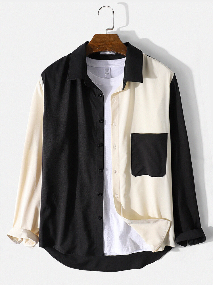 Mens Contrast Color Patchwork Daily Long Sleeve Shirt