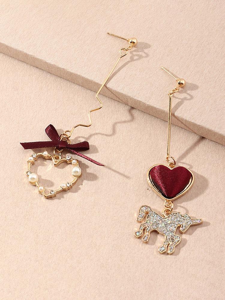 Vintage Sweet Lovely Peach Heart Unicorn Earrings Metal Temperament Pearl Heart Asymmetric Earrings