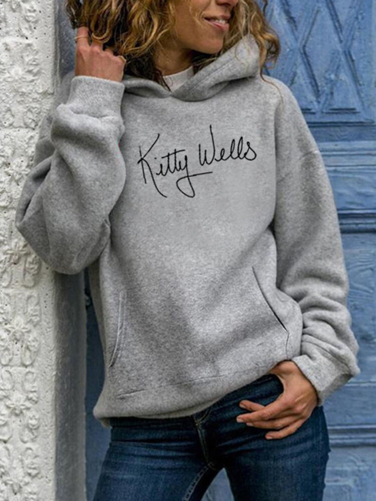 Casual Letters Print Plus Size Hoodie for Women