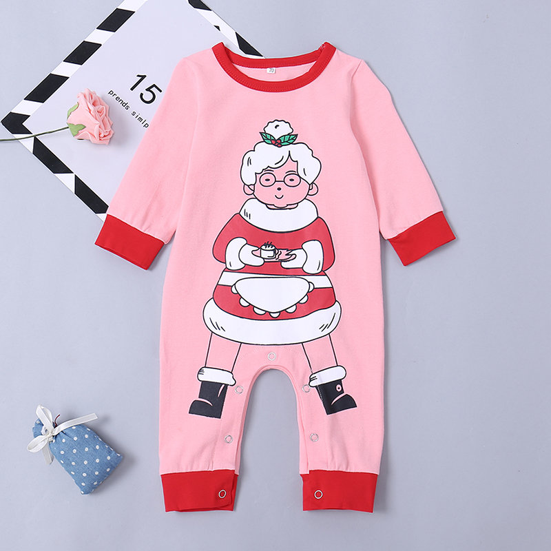 Santa Printed Comfy Cotton Baby Long Sleeve Romper For 0-24M