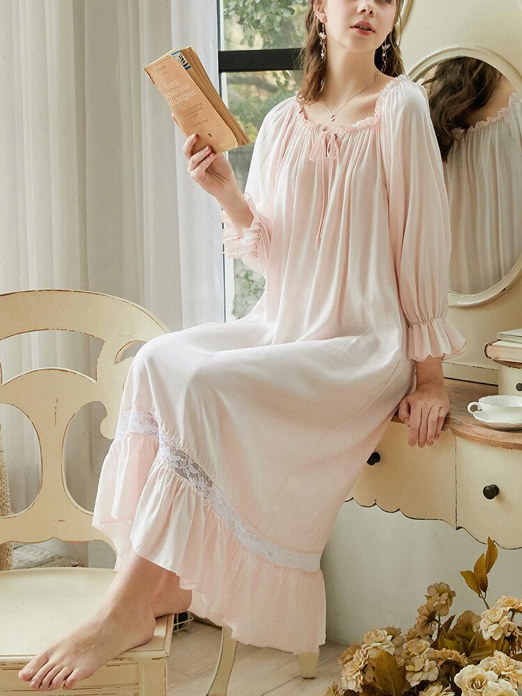 Chemise de nuit confortable en coton à volants pour femmes