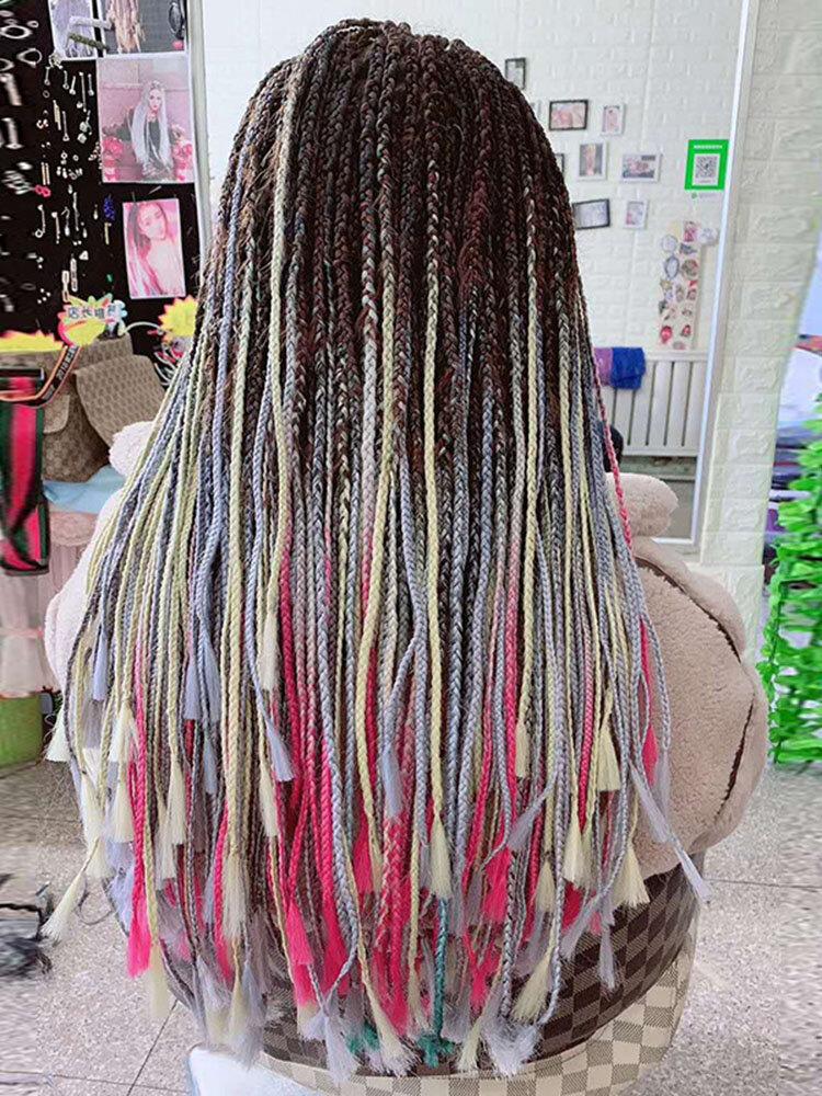 HalloweenColored Gradient Dirty Braids Высокотемпературное волокно Большие косички Ponytail Волосы Расширения