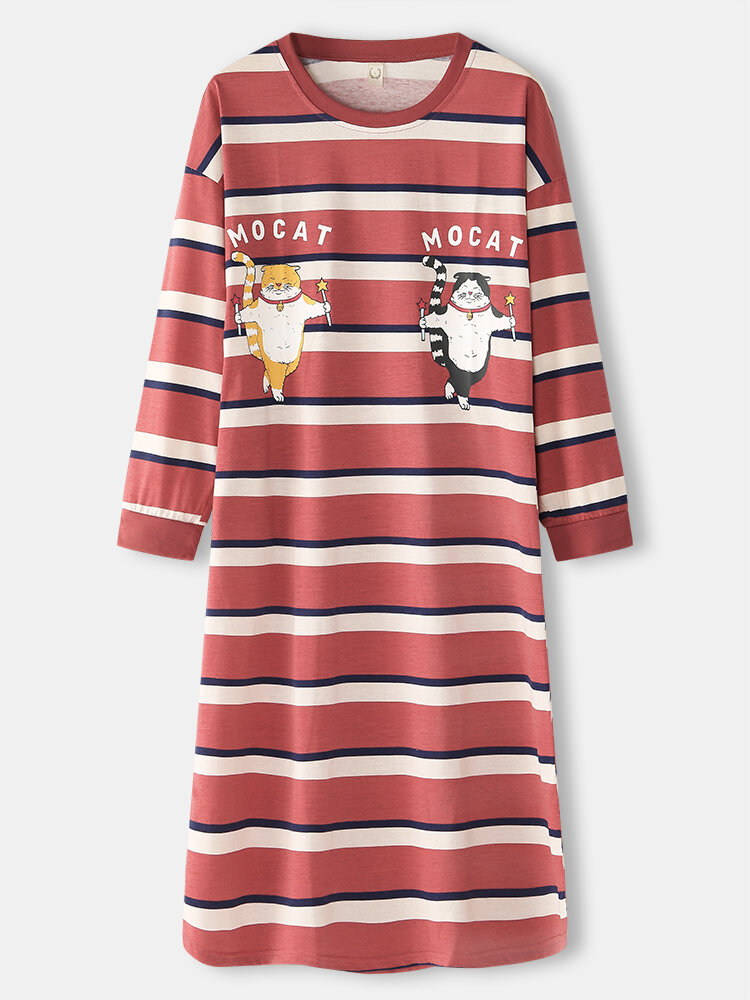 Women Striped Cartoon Cat Loose Long Sleeve Casual Home Nightgown With Pocket