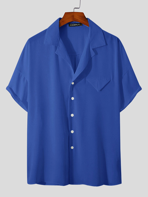 Plus Size Mens Revere Collar Casual Solid Color Short Sleeve Shirt