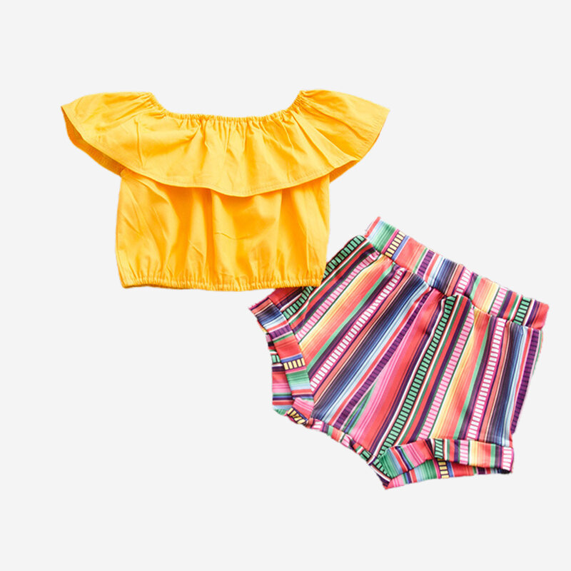 Girl's Colorful Striped Print Shorts+Ruffled Tops Casual Clothing Set For 1-7Y