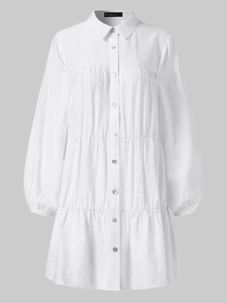 Solid Color Lapel Lantern Sleeve Plus Size Shirt Pleated Dress for Women