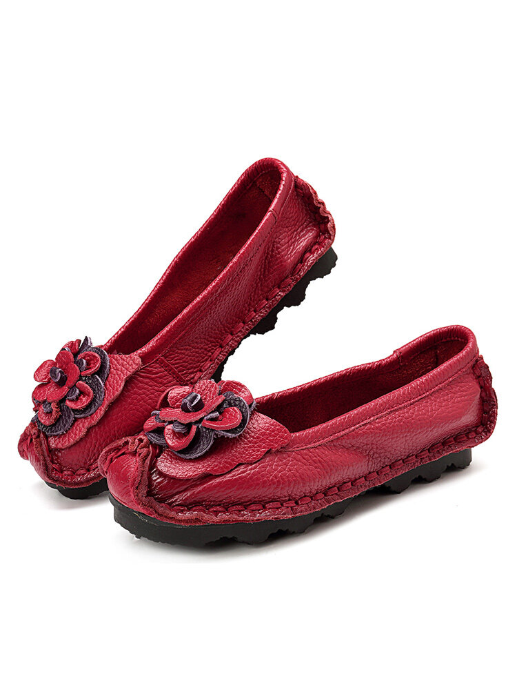 Women Casual Soft Handmade Floral Genuine Leather Flats