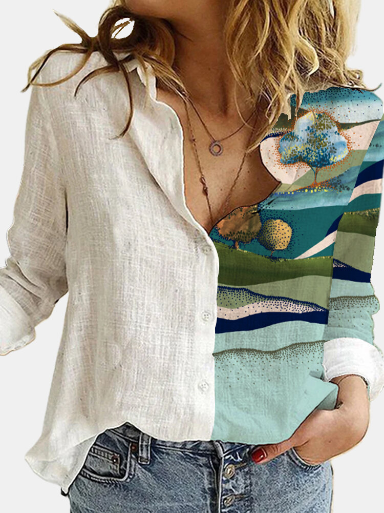 Plant Printed Long Sleeve Turn-down Collar Patchwork Blouse For Women