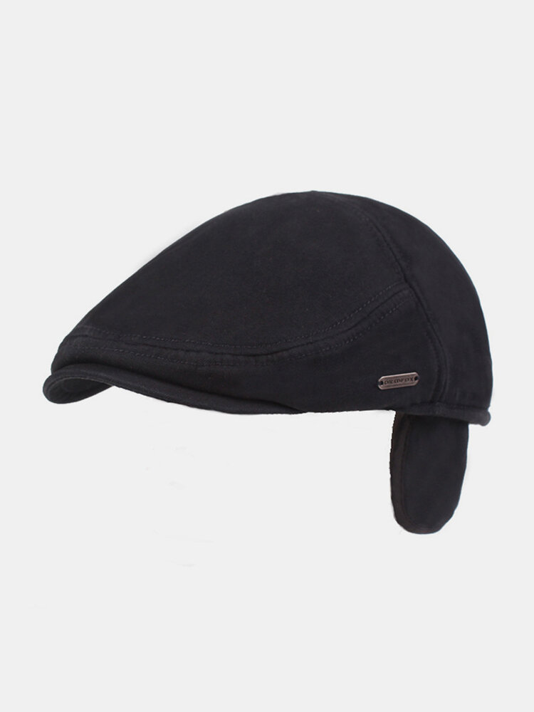 Men Ear Protection Winter Outdoor Solid Color Casual Universal Plus Thicken Beret Hat Flat Cap