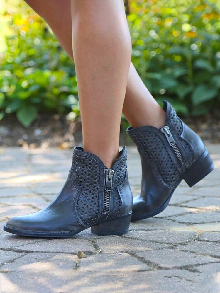 Women Breathable Hollow Out Zipper Low Heel Short Boots