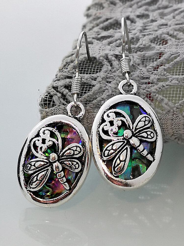 Vintage Dragonfly Women Earrings Silver-Plated Pendant Bridal Earrings Gift