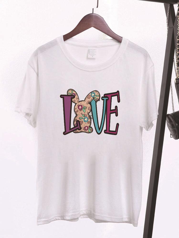 Women Easter Cartoon Bunny Letters Print Short Sleeve O-neck T-Shirt