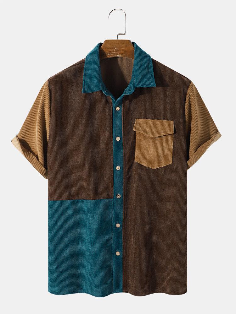 メンズプレーンステッチコーデュロイ半袖テクスチャボタンアップシャツ