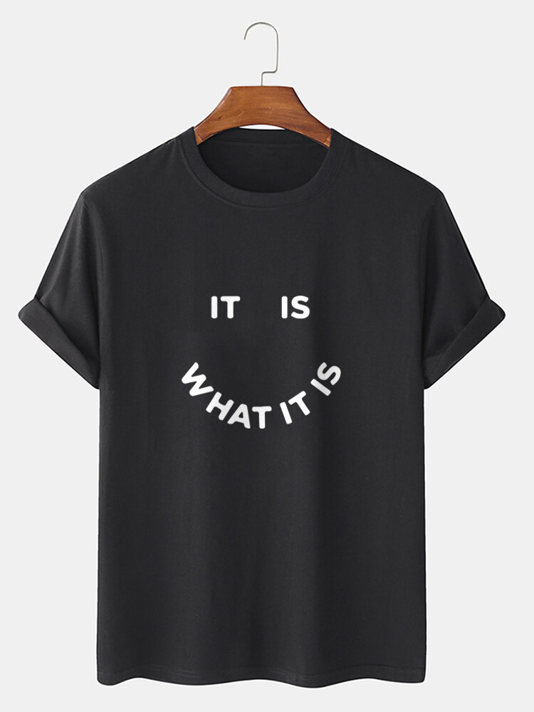 Mens Street Letter Smile Graphics 100% Cotton Short Sleeve T-Shirt