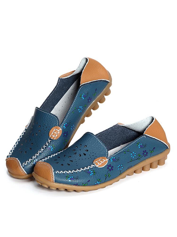 Цветочные Принт Выдалбливают Дышащие Повседневные Slip On Плоские Обуви