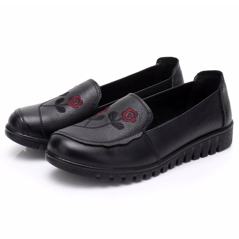 Embroidered Leather Slip Resistant Casual Black Shoes
