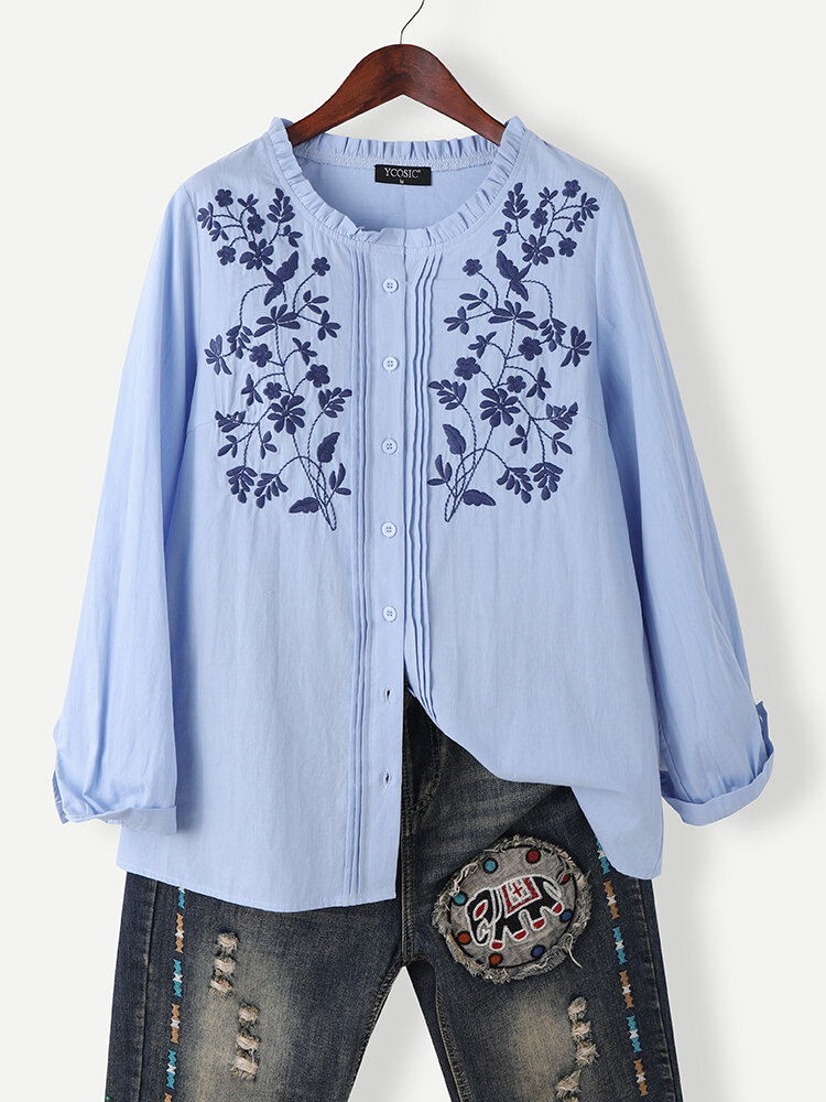 Floral Embroidered Pleated Fungus O-neck Button Cotton Shirt for Women