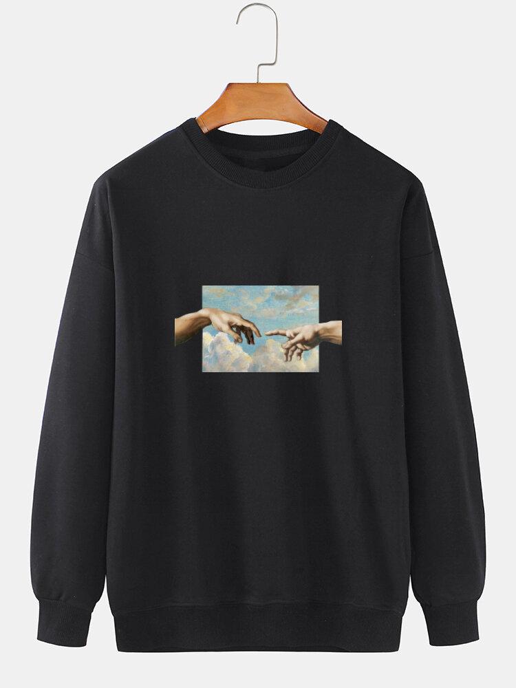 メンズフィギュアグラフィック綿100%プルオーバーカジュアルドロップショルダースウェットシャツ