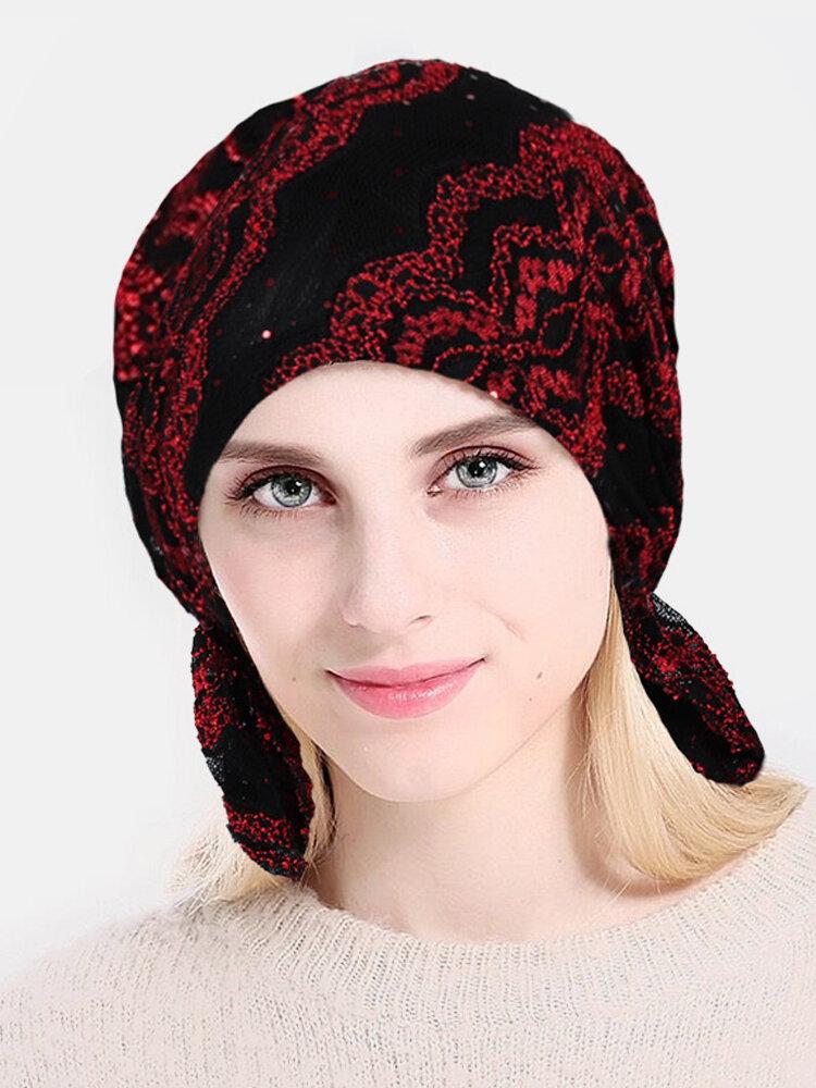 Lace Printing Chemotherapy Cap Knitting Cutout Hats