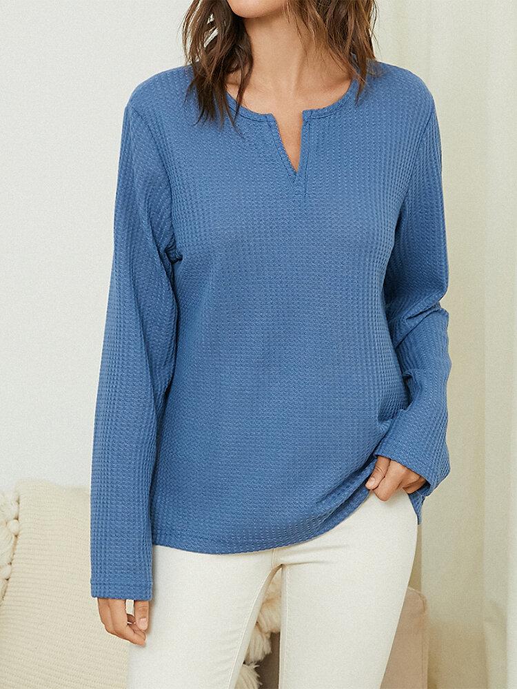 Plain V-neck Long Sleeve Casual Knit Plus Size Blouse